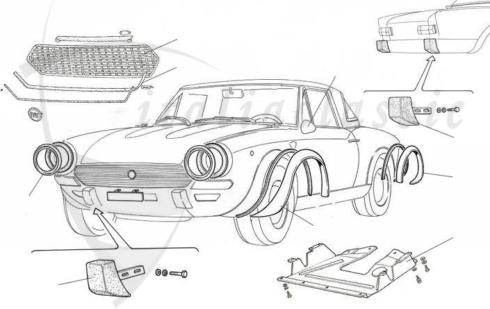 fiat 124 abarth rally karosserie anbauteile duetto rh italiaclassic com Fiat Parts Protective Undercarrage Parts Diagram 1977 Fiat