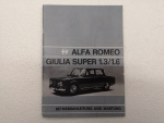 Betriebsanleitung Alfa Romeo Giulia 1300 / 1600 Super (Copy)